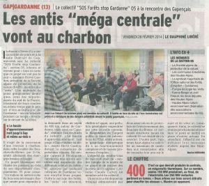 L'article du Dauphiné Libéré du 28 février sur cette réunion