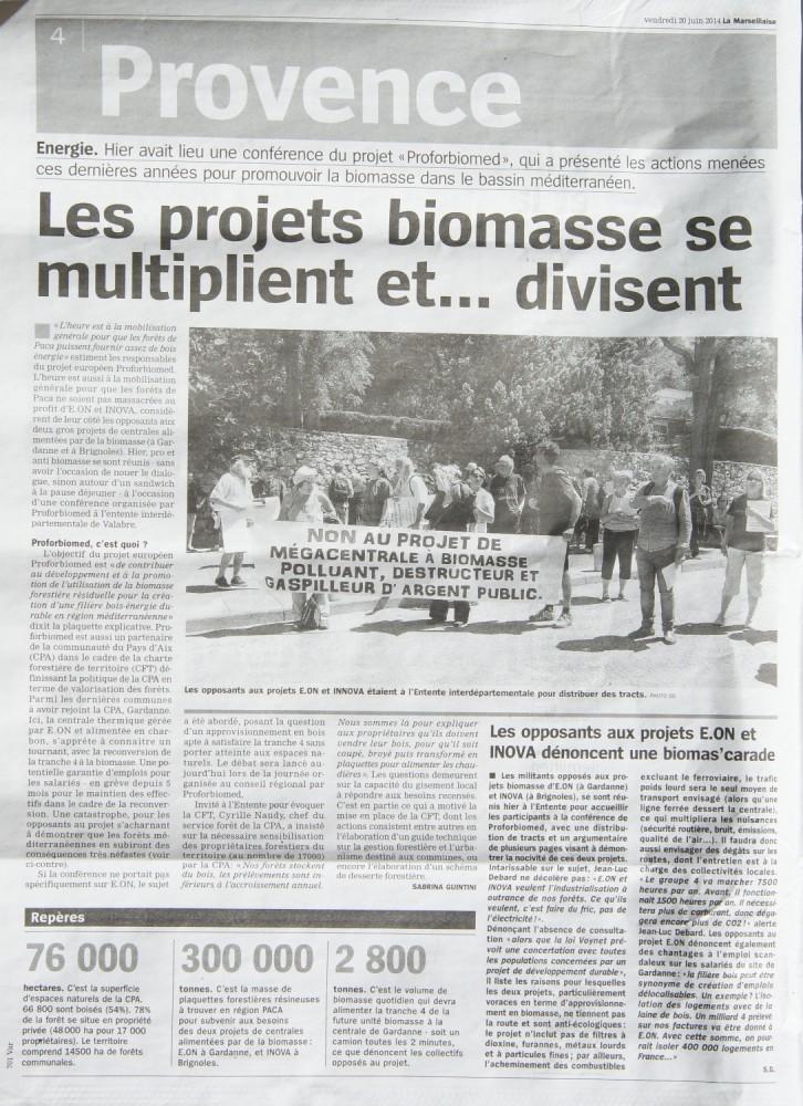 Article de La Marseillaise sur l'action à Gardanne le 19 juin (1/2)